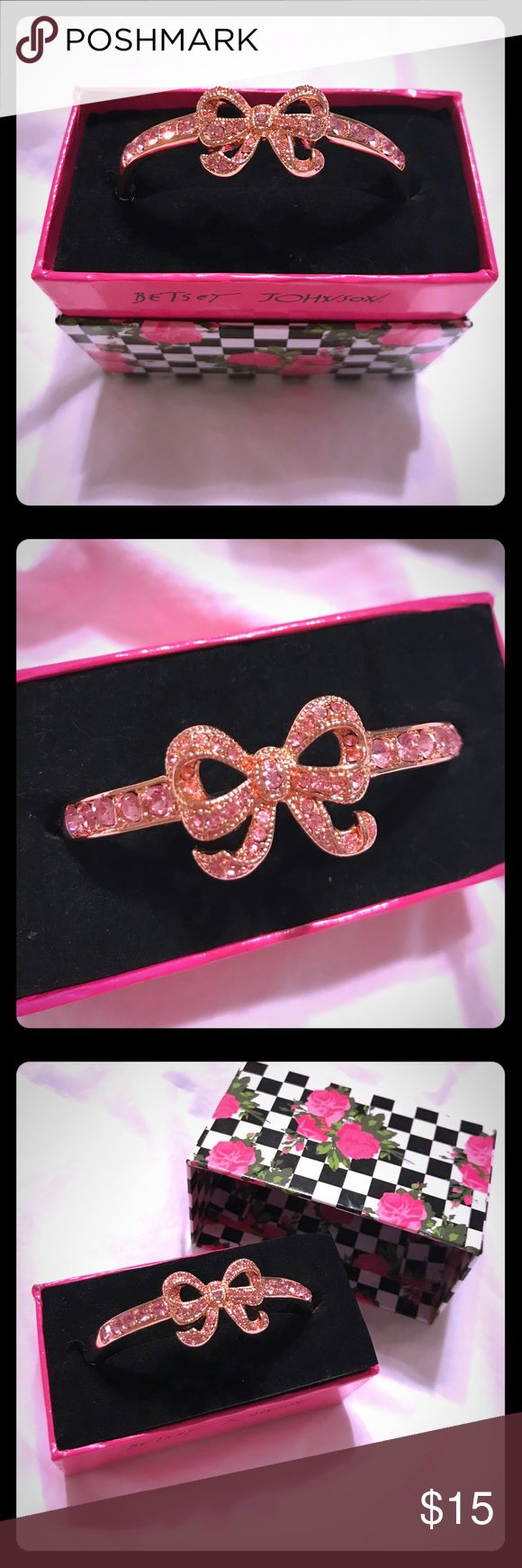 Betsey Johnson Pink Crystal Rosegold Bow Bracelet Super cute Betsey Johnson Pink Crystal Rosegold Bow Bangle Bracelet - new with tags in gift box, never worn - Bracelet is a bangle style with a clasp - Betsey Johnson definitely has her following of cool trendy girls loving her bold fashion, she is legendary!  Great for wearing on a date or a night out with the girls - it would even be perfect to wear to prom or a wedding!  Super cute summer steal! Betsey Johnson Jewelry Bracelets