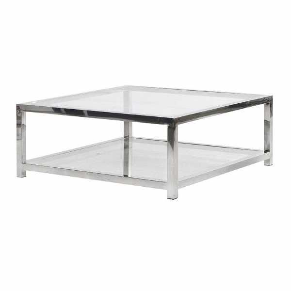 Large Terano Contemporary Metal And Glass Top Square Coffee Table