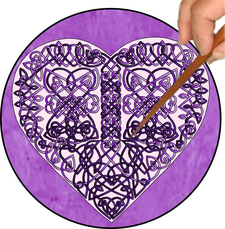 """The Purple Celtic Hearts is a TIGHT Mandalynth design that has a playful feel when traced because of the way the many hidden hearts """"pop"""" out at you. The Hearts Mandalynth is created from two intertwining pathways, one lavender and the other purple. Together, they create 45 small and medium-sized hearts. Some hearts are right-side up, some are on their sides, and two are upside-down. The Hearts Mandalynth suits individuals with intense mindsets who enjoy              a little playful…"""