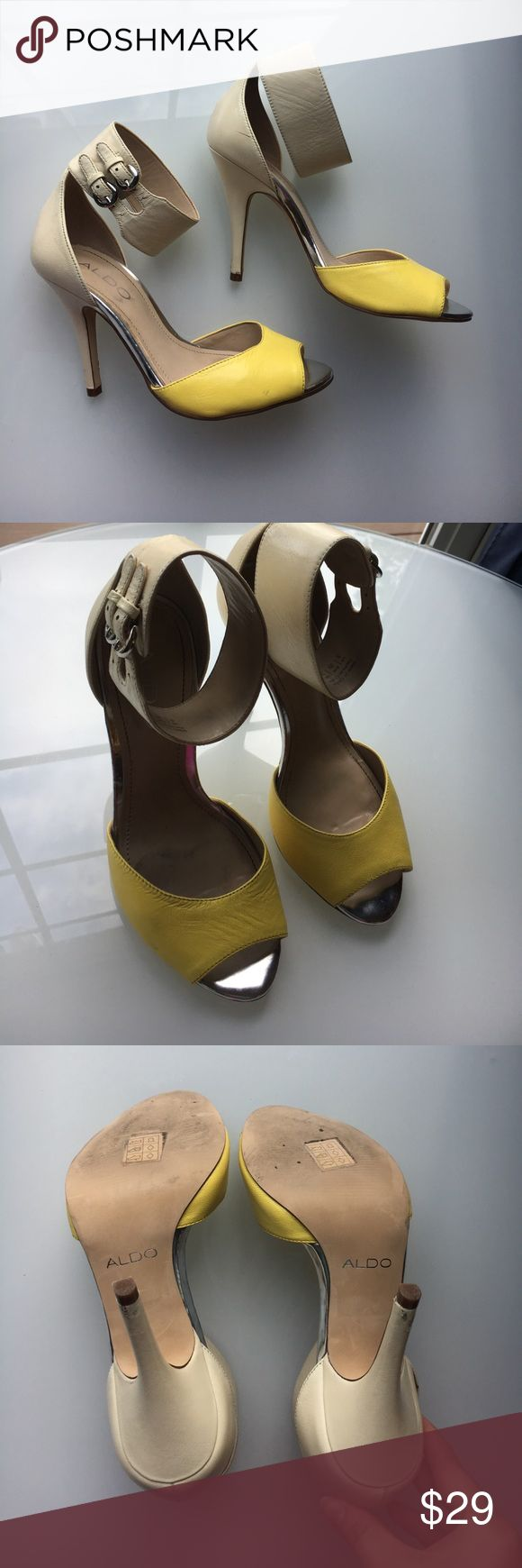 Sexy yellow and tan Aldo heels Sexy yellow and tan Aldo heels . They are used. Price reflects. Aldo Shoes Heels