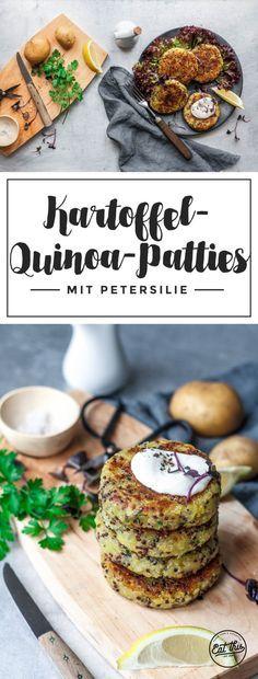 Einfache Kartoffel-Quinoa-Patties mit veganem Kräuterquark