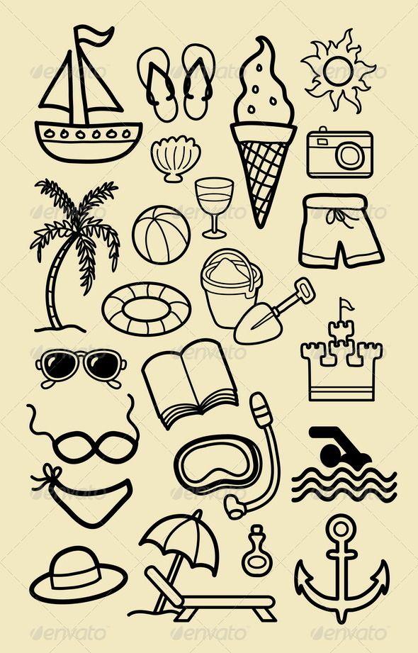 Summer Beach Icon Sketches #GraphicRiver Nice vector hand drawing beach activity icons. Good use for your symbol, logo, web icon, sticker design, wallpaper, or any design you want. Easy to use, edit, or change color. ZIP included : AI CS, EPS8, CDR coreldraw (vector files = can use any size you want without loss resolution, Use Adobe Illustrator or any support vector program to edit these file), JPEG rgb high resolution, PNG transparent, and PSD photoshop file. Object icons : sand, shorts…