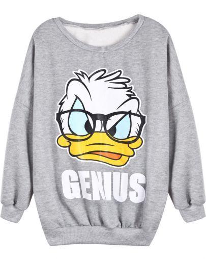 Sweat-shirt à imprimé canard de Donald -Gris  pictures