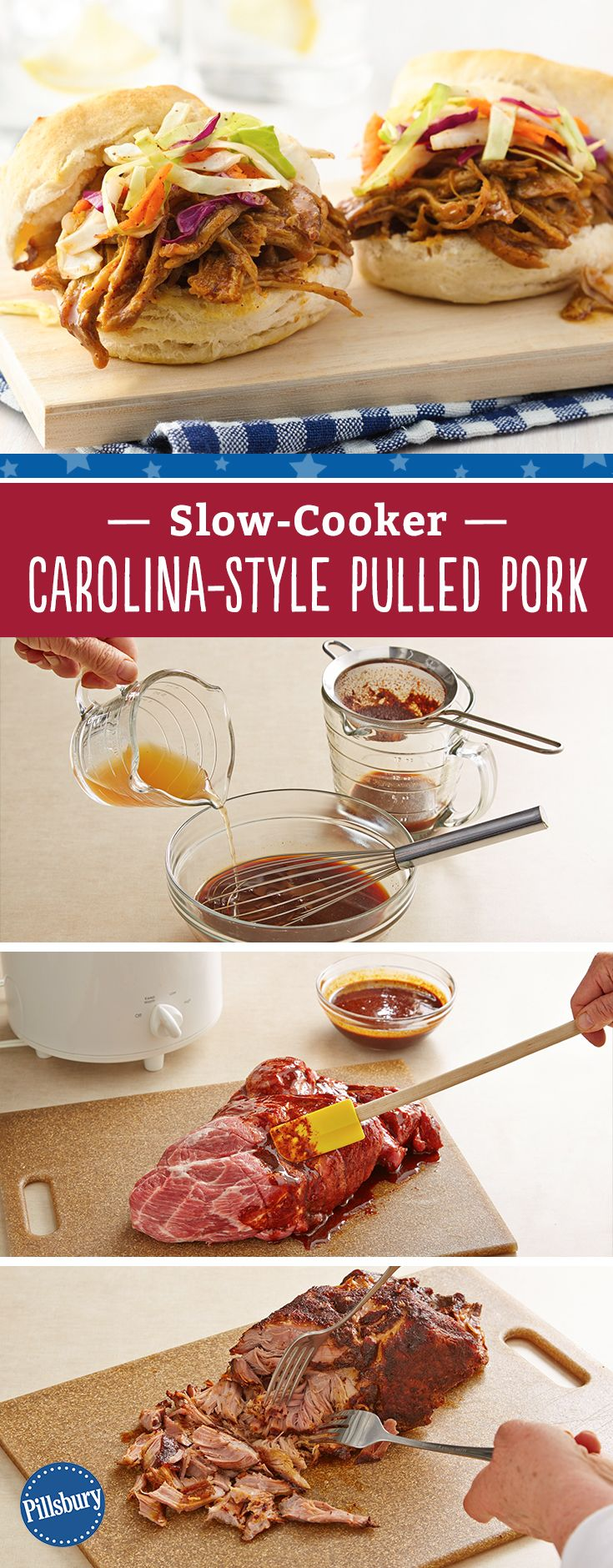 Try this juicy Slow-Cooker Carolina Pulled Pork and top it off with our flaky Pillsbury biscuits. Don't be surprised if you have everyone asking you for the recipe!