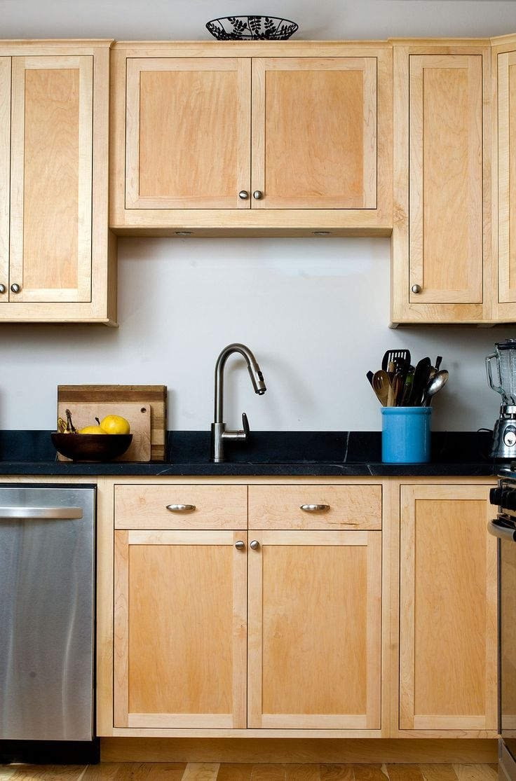 Maple kitchen cabinets with dark counters