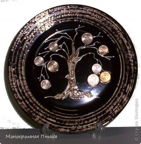 Декор предметов Аппликация Тарелка-талисман Денежное дерево
