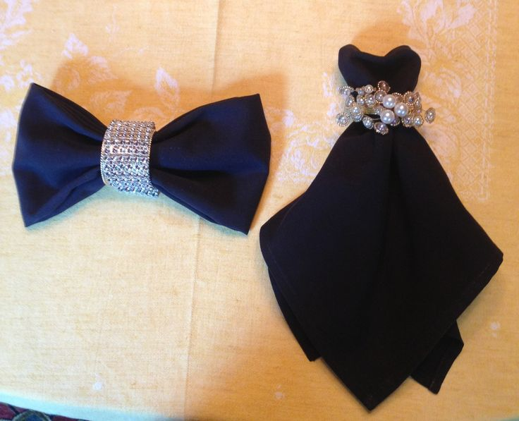Cocktail dress & Bowtie napkin folding. SOO CUTE!!! Check out our rhinestone napkin rings and black napkins at alwayselegant.com