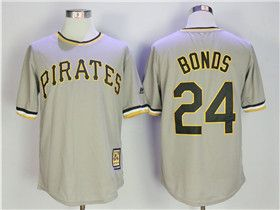 official photos cb4a3 d09ae Pittsburgh Pirates #24 Barry Bonds Gray Cooperstown ...