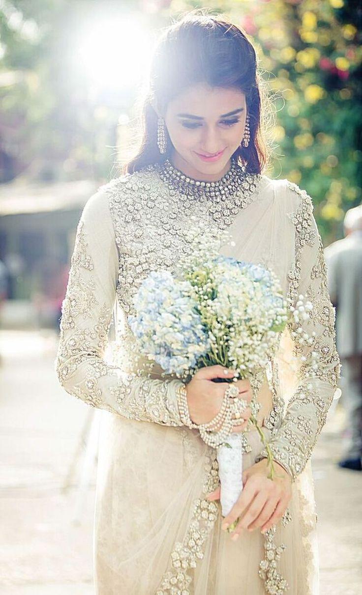 Sabyasachi bride - Indian bride - full sleeved blouse -Indian wedding - regal - saree - net - sheer