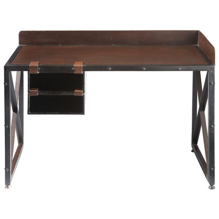 Metalen bureau met roesteffect B 120 cm Achille
