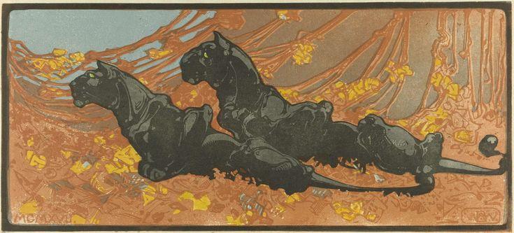 Bernard Willem Wierink | Zwarte panters, Bernard Willem Wierink, 1866 - 1939 |