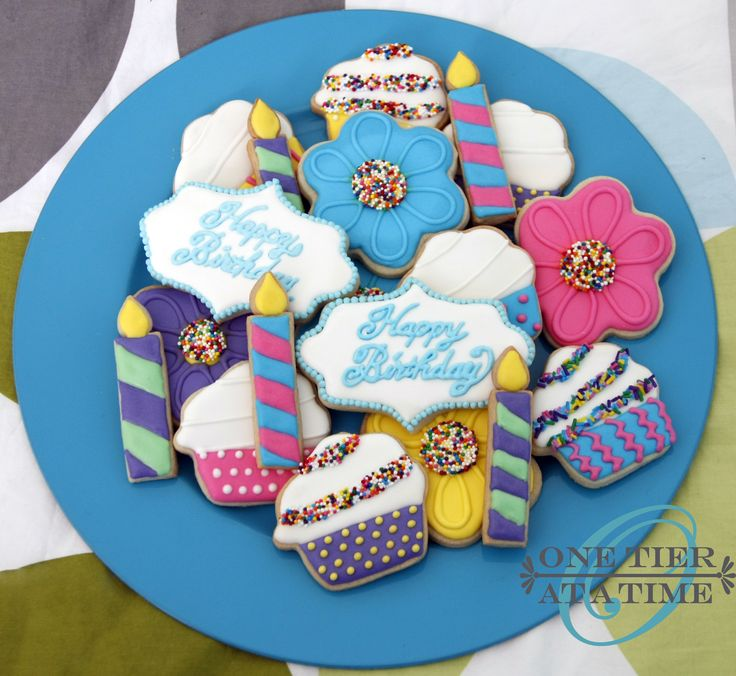 Birthday sugar cookies, cupcake cookies, candle cookies, flower cookies, daisy cookies
