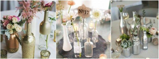 Une décoration de table éco friendly, glitter et tendnace avec des bouteilles de lait, de vin ou des mason jar