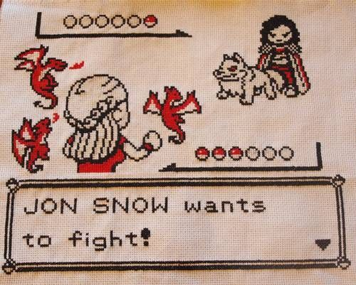 This Geeky Cross Stitch Fuses Game of Thrones and Pokemon trendhunter.com