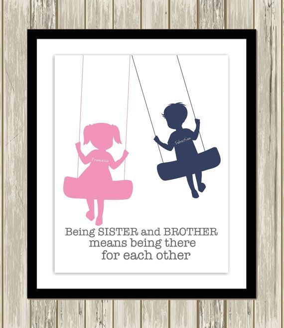 Brother And Sister Wall Art Siblings Art Shared Room