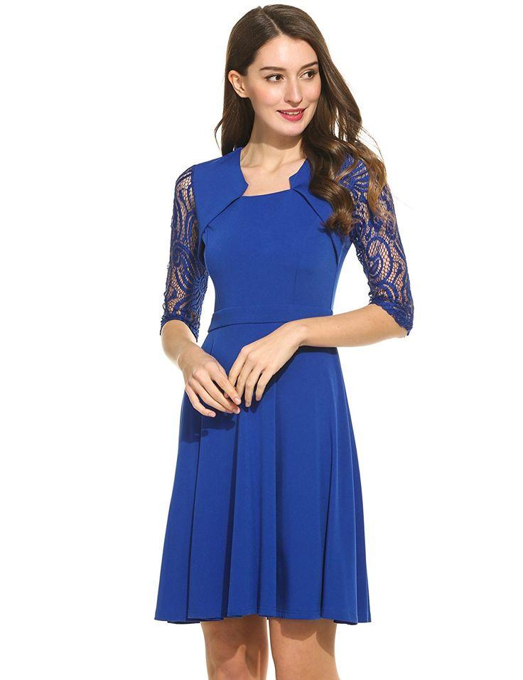ANGVNS Damen Vintage Kleid 1/2 Ärmel Quadrat Kragen Spitze ...