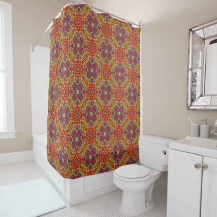 Freaky Tiki Pattern  Vintage  Shower Curtain - shower curtains home decor custom idea personalize bathroom