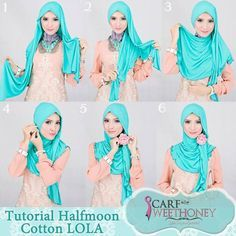 Turqoise Halfmoon Cotton by Scaf Sweet Honey fashion, tutorials, tutori hijab, hijabs, scarves, hijab tutorial, flowers, hijab styles, hijabtutori