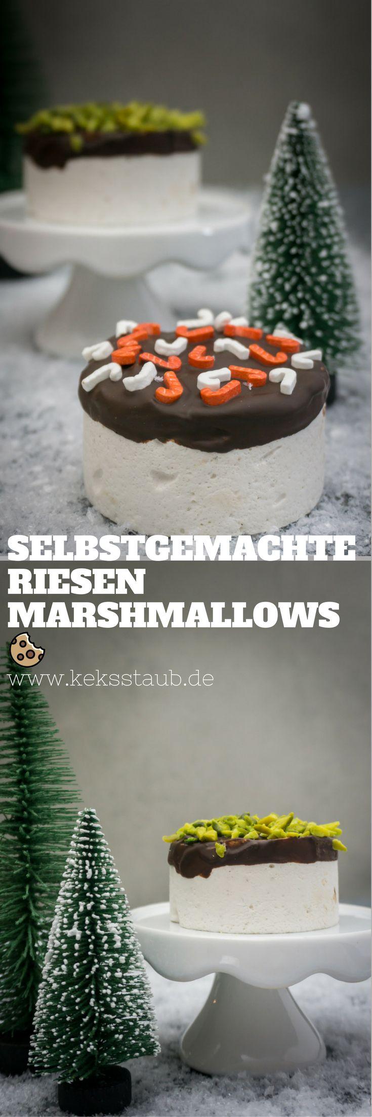 Rezept für Selbstgemachte Riesen Marshmallows mit Schokolade und bunten Toppings. Perfekt als Geschenk aus der Küche zB für Weihnachten - Anleitung mit und ohne Thermomix  #Marshmallow #Thermomix #Rezept