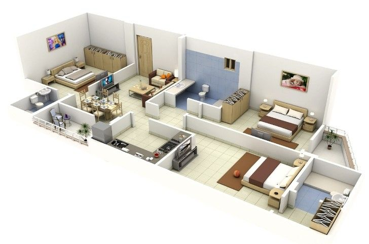 Rectangular Shape 3 Bedroom House Plan In 3d Bedroom House Plans