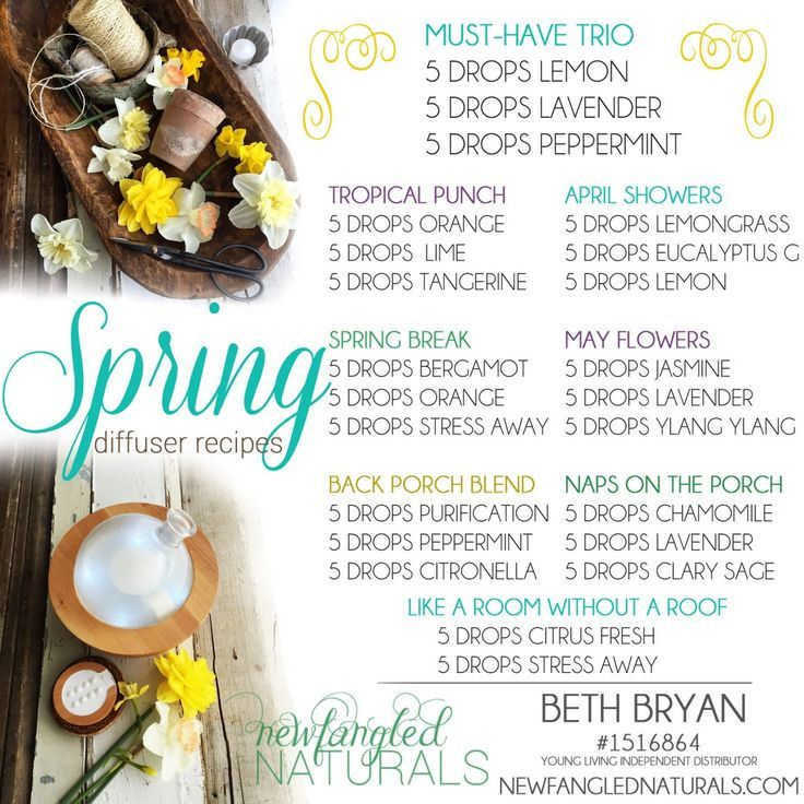 Springtime essential oil diffuser recipes using Young Living essential oils. Recipes by Beth Bryan, (Young Living #1516864) CLICK TO ORDER ESSENTIAL OILS: www.newfanglednaturals.com
