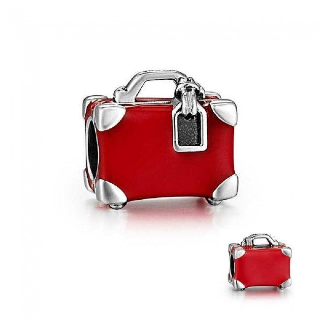 Pingente Minha Maleta de Viagem Vermelha! de Prata de Lei 925 - Compatível com as principais marcas