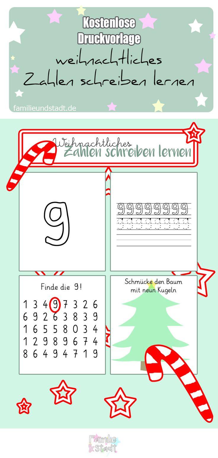 zahlen schreiben lernen weihnachtliche arbeitsbl tter druckvorlagen f r kinder printables. Black Bedroom Furniture Sets. Home Design Ideas