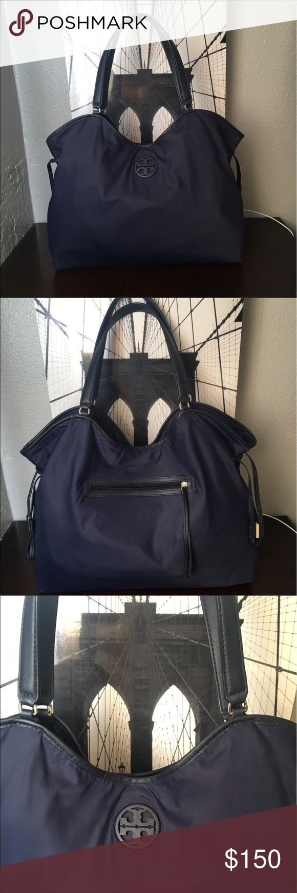 "Tory Burch Slouchy Nylon Tote. HideSize Info 19 ½""W x 14""H x 5 ½""D. (Interior capacity: extra-large.) 9"" strap drop. Tory Burch Bags Totes"