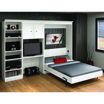 bestar u2013 studio double wall bed 3pc set u2013 white - Wallbeds