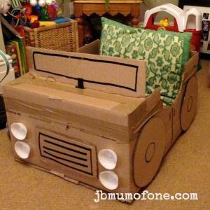 Add headlights and upholstery How to Make a Cardboard Box Car