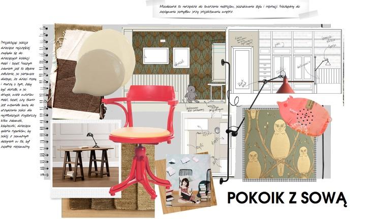 """Moodboard przygotowany specjalnie dla dzieci - design dla dzieci nie musi być """"misiowaty"""", tapety dla dzieci mogą być """"poważne"""" i stylowe, takie jak Briar Owl! Lampy Gras świetnie spisują się przy łóżku dziecka, a dorosły fotel Kontor prod.Ton w czerwieni pantone idealnie sprawdza się przy biurku Malucha."""