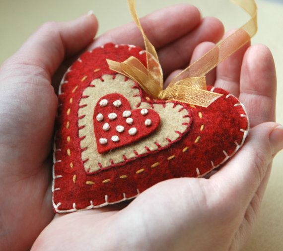 Felt Heart Valentine's Day Decoration, Red and Gold Hand Embroidered Felt Heart Ornament, Rustic Wedding Decor on Etsy, $14.00: