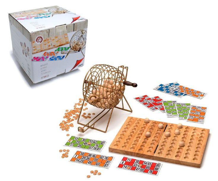 Disfruta de tus partidas de bingo con esta versión de lujo, Incluye un tablero de madera maciza para colocar las bolas  de madera que extraes del bombo de metal Un Juego para disfrutar con amigos o familia.