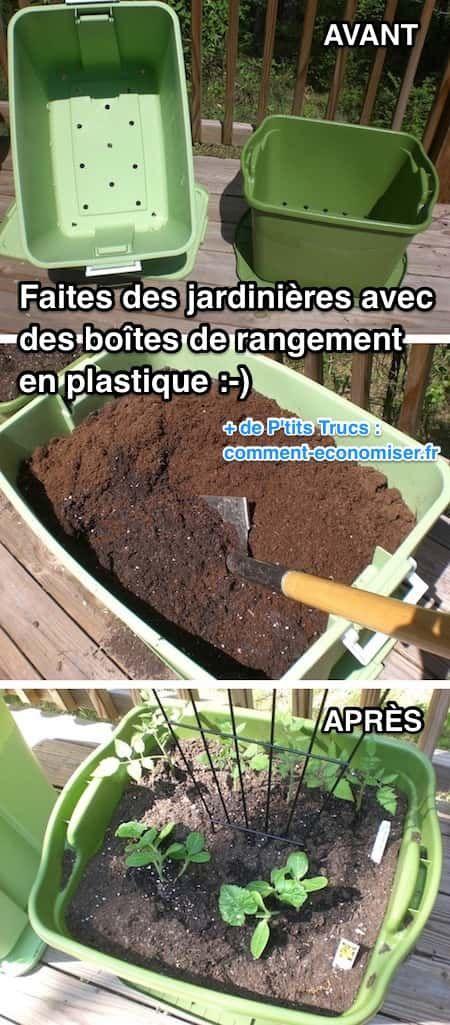 Utilisez des boîtes de rangement en plastique comme jardinière.