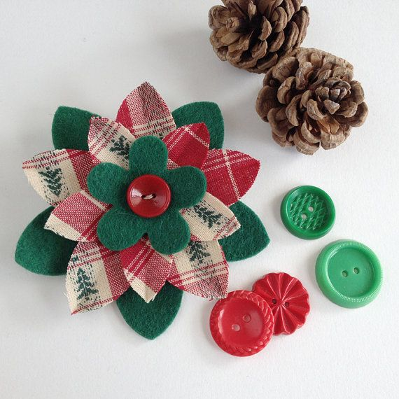 Retro Christmas Plaid Lapel Pin with Felt & Red Vintage Button by dorothydesigns