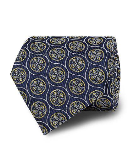 Navy Yellow Floral Silk Tie