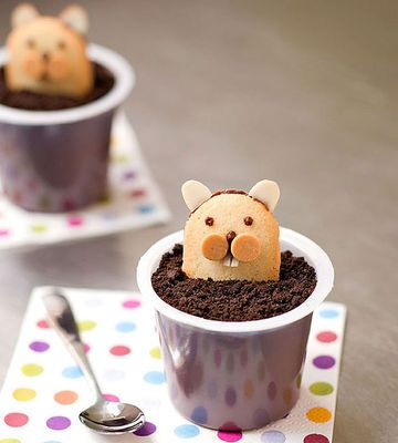 Punxsutawney Pudding Cups for Groundhog Day