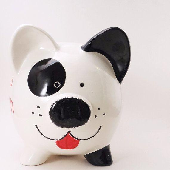 Negro y blanco cachorro perro hucha personalizada Spot