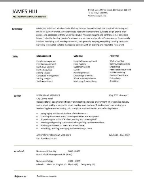 Best Restaurant Resume Images On   Career Advice Gym