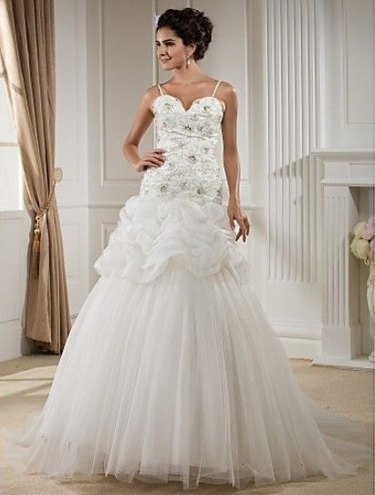 Elegant Ball Gown Sweetheart Sweep/Brush Train Organza And Tulle #Wedding Dress With Removable Strap WBG08671-LT