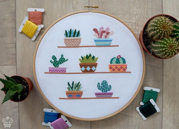 cactus cross stitch pattern pdf easy cross stitch succulents counted cross stitch chart modern cacti plants embroidery gift for mom