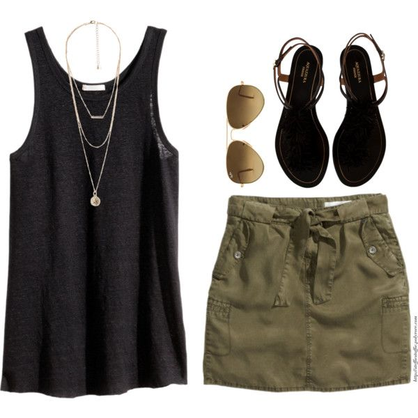 Army Green & Black by steffiestaffie on Polyvore featuring polyvore fashion style H&M Aquazzura MANGO Ray-Ban