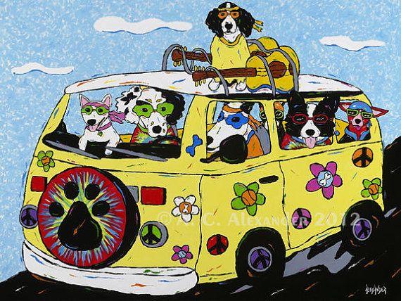 Dog Art Print By Angela Alexander Title Woofstock Hippie