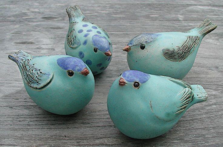 Keramikvögel türkis