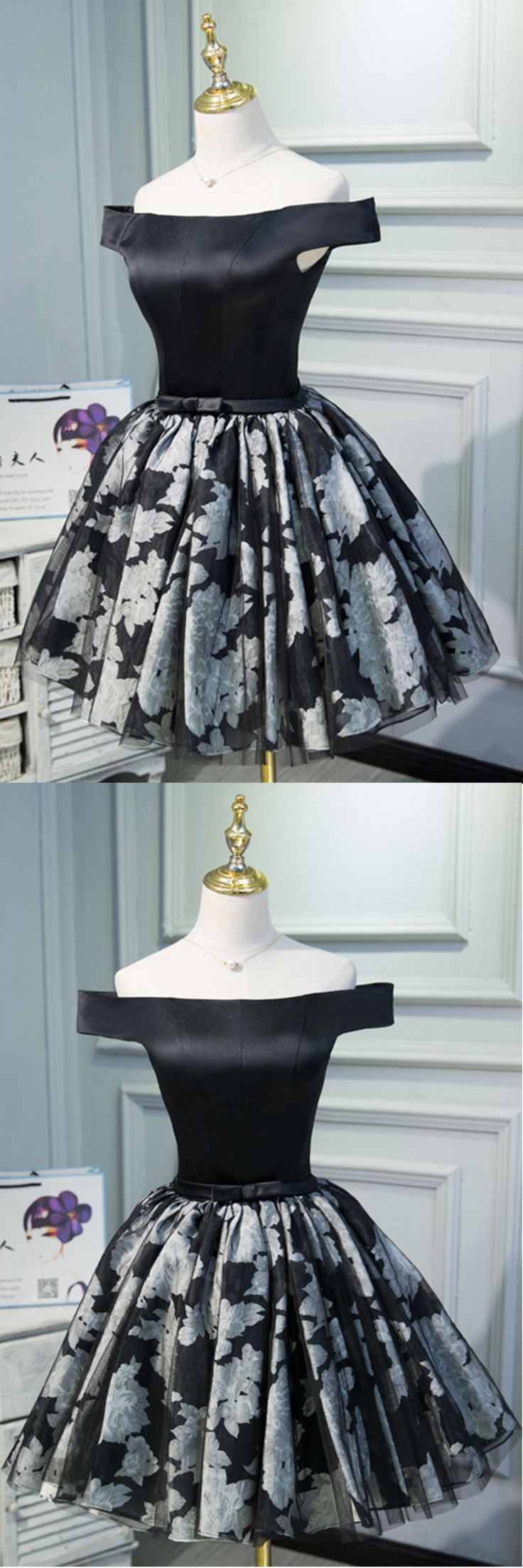 Cute off shoulder mini black dress with bowknot, mini black party dress