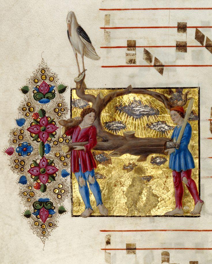 """Due boscaioli e una cicogna. Iniziale figurata """"A"""" tratta da Graduale (Italia, 1460 – 1480), Getty Museum, LA."""