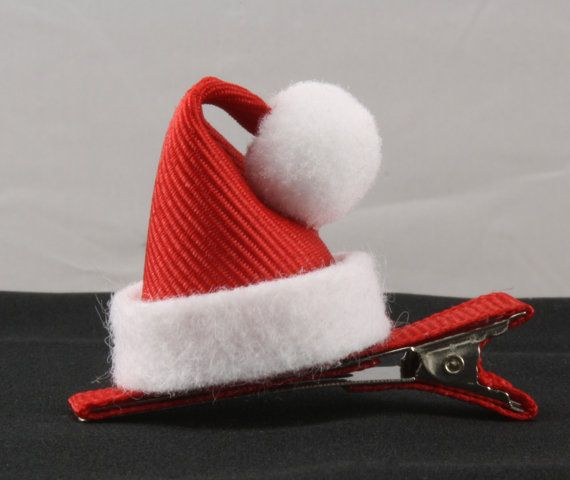 Santa Hat Ribbon Sculpture Hair Clip St. by MyLittlePinkGiraffe, $3.50