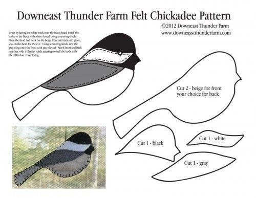 Felt Chickadee Ornament |  Downeast Thunder Farm: