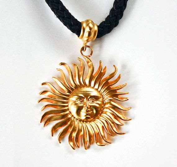 Golden Sun Pendant / Black Rope and Gold Engraved by JewelrybyLB, $110.00