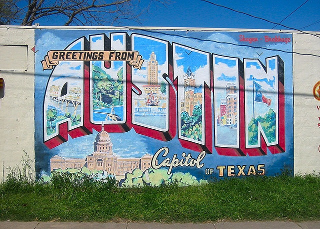Austin tx street art pinterest postcards murals for Austin mural wall